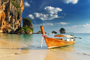 boats on Railay Beach Krabi Wall Mural Wallpaper - Canvas Art Rocks - 1