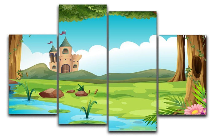 castle and a pond 4 Split Panel Canvas