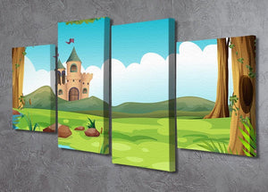 castle and a pond 4 Split Panel Canvas - Canvas Art Rocks - 2