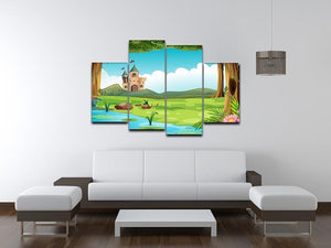 castle and a pond 4 Split Panel Canvas - Canvas Art Rocks - 3