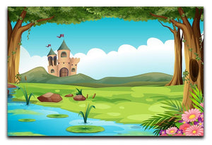 castle and a pond Canvas Print or Poster  - Canvas Art Rocks - 1