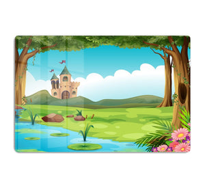 castle and a pond HD Metal Print