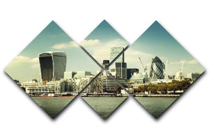 city skyline from the River Thames 4 Square Multi Panel Canvas  - Canvas Art Rocks - 1