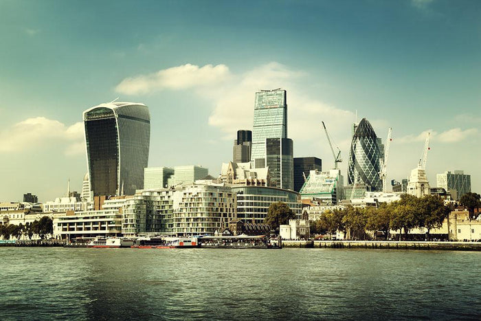 city skyline from the River Thames Wall Mural Wallpaper