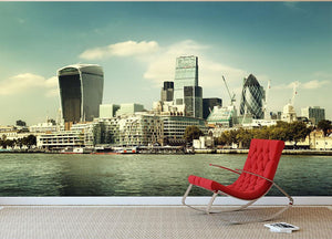city skyline from the River Thames Wall Mural Wallpaper - Canvas Art Rocks - 2