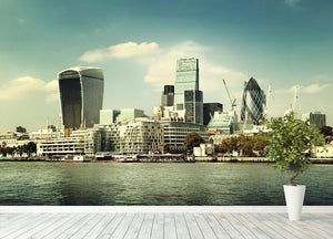 city skyline from the River Thames Wall Mural Wallpaper - Canvas Art Rocks - 4