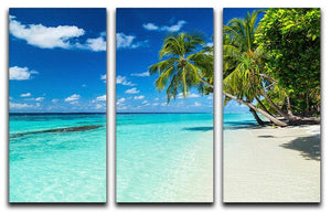 coco palms on paradise beach 3 Split Panel Canvas Print - Canvas Art Rocks - 1