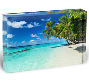 coco palms on paradise beach Acrylic Block - Canvas Art Rocks - 1