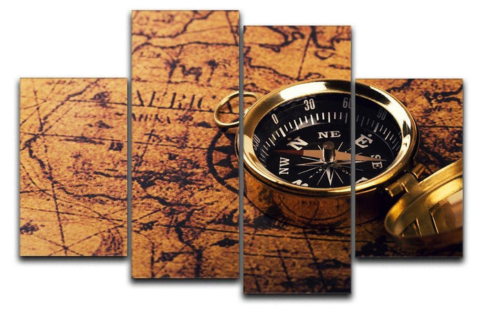 compass on vintage world map 4 Split Panel Canvas