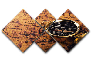 compass on vintage world map 4 Square Multi Panel Canvas  - Canvas Art Rocks - 1
