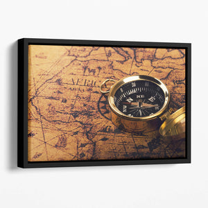 compass on vintage world map Floating Framed Canvas
