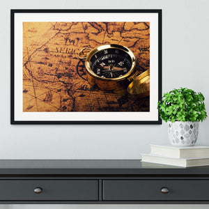 compass on vintage world map Framed Print - Canvas Art Rocks - 1