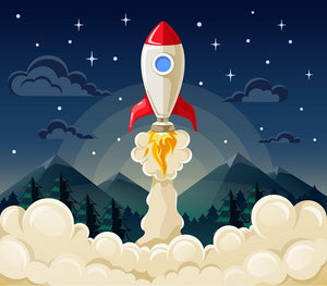 concept of space rocket ship startup on dark Wall Mural Wallpaper - Canvas Art Rocks - 1