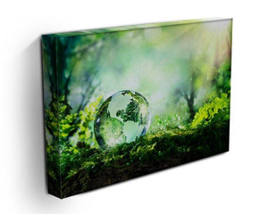 crystal globe on moss in a forest Canvas Print or Poster - Canvas Art Rocks - 3