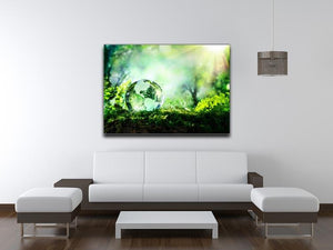 crystal globe on moss in a forest Canvas Print or Poster - Canvas Art Rocks - 4