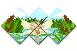 cute fairy sitting in leaf of lily 4 Square Multi Panel Canvas  - Canvas Art Rocks - 1