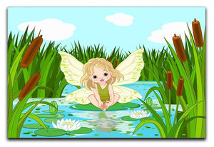 cute fairy sitting in leaf of lily Canvas Print or Poster  - Canvas Art Rocks - 1