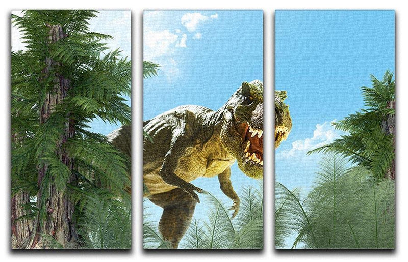 dinosaur in the jungle background 3 Split Panel Canvas Print - Canvas Art Rocks - 1