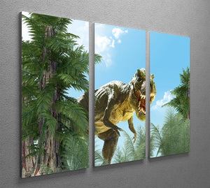 dinosaur in the jungle background 3 Split Panel Canvas Print - Canvas Art Rocks - 2