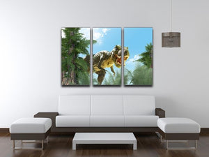 dinosaur in the jungle background 3 Split Panel Canvas Print - Canvas Art Rocks - 3
