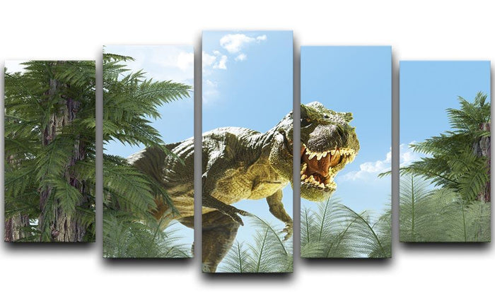 dinosaur in the jungle background 5 Split Panel Canvas
