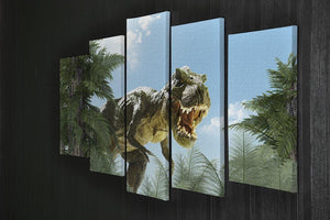 dinosaur in the jungle background 5 Split Panel Canvas - Canvas Art Rocks - 2