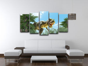 dinosaur in the jungle background 5 Split Panel Canvas - Canvas Art Rocks - 3