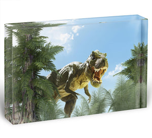 dinosaur in the jungle background Acrylic Block - Canvas Art Rocks - 1