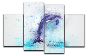 dolphin Painting 4 Split Panel Canvas  - Canvas Art Rocks - 1