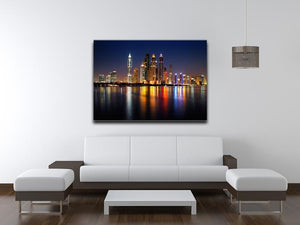 dusk Palm Jumeirah skyline view Canvas Print or Poster - Canvas Art Rocks - 4