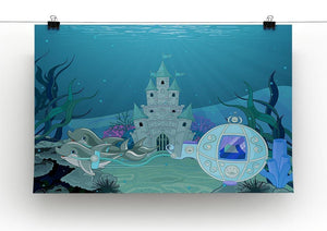 fairytale dolphin carriage on ocean Canvas Print or Poster - Canvas Art Rocks - 2