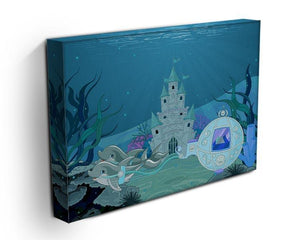 fairytale dolphin carriage on ocean Canvas Print or Poster - Canvas Art Rocks - 3