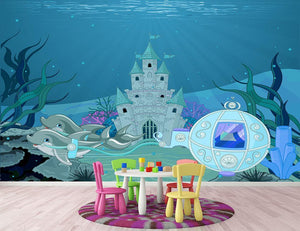 fairytale dolphin carriage on ocean Wall Mural Wallpaper - Canvas Art Rocks - 2