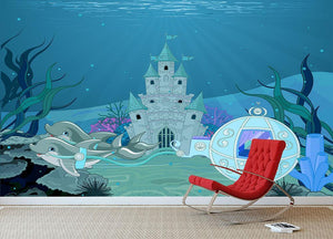 fairytale dolphin carriage on ocean Wall Mural Wallpaper - Canvas Art Rocks - 3