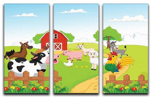 farm animals with background 3 Split Panel Canvas Print - Canvas Art Rocks - 1