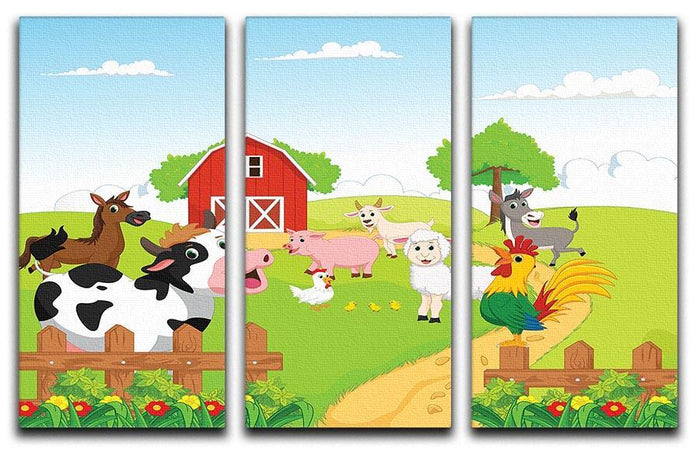 farm animals with background 3 Split Panel Canvas Print