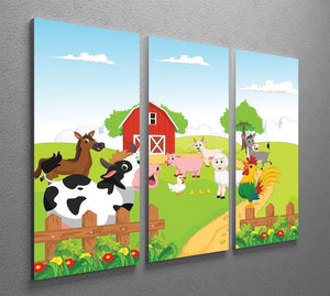 farm animals with background 3 Split Panel Canvas Print - Canvas Art Rocks - 2