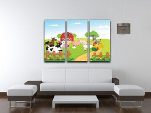 farm animals with background 3 Split Panel Canvas Print - Canvas Art Rocks - 3