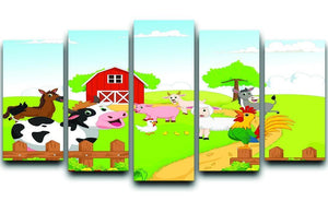 farm animals with background 5 Split Panel Canvas - Canvas Art Rocks - 1