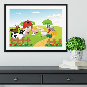 farm animals with background Framed Print - Canvas Art Rocks - 1