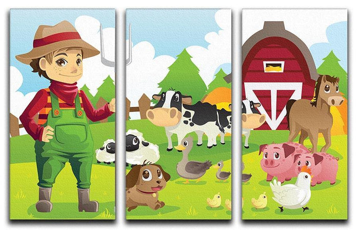 farmer at his farm with a bunch of farm animals 3 Split Panel Canvas Print