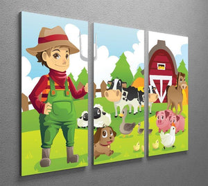 farmer at his farm with a bunch of farm animals 3 Split Panel Canvas Print - Canvas Art Rocks - 2