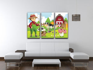 farmer at his farm with a bunch of farm animals 3 Split Panel Canvas Print - Canvas Art Rocks - 3