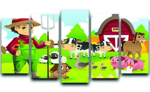 farmer at his farm with a bunch of farm animals 5 Split Panel Canvas - Canvas Art Rocks - 1