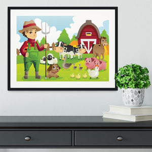 farmer at his farm with a bunch of farm animals Framed Print - Canvas Art Rocks - 1