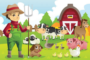 farmer at his farm with a bunch of farm animals Wall Mural Wallpaper - Canvas Art Rocks - 1