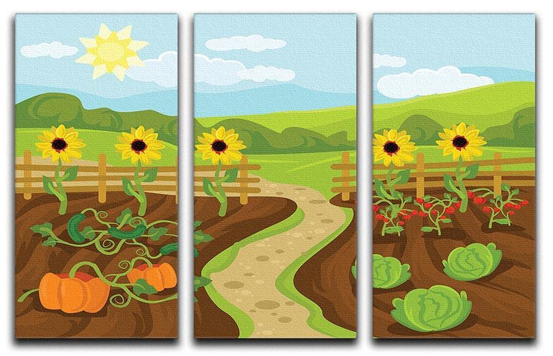 garden flat cartoon 3 Split Panel Canvas Print - Canvas Art Rocks - 1