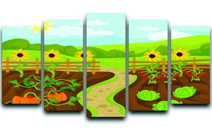 garden flat cartoon 5 Split Panel Canvas - Canvas Art Rocks - 1