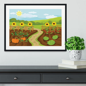 garden flat cartoon Framed Print - Canvas Art Rocks - 1