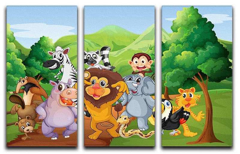 group of animals at the jungle 3 Split Panel Canvas Print - Canvas Art Rocks - 1